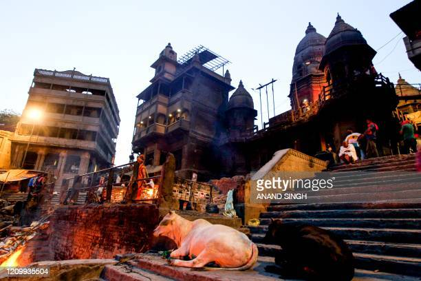 This picture taken on April 10 shows a view of Manikarnika Ghat on the banks of the Ganges river during a governmentimposed lockdown as a preventive...