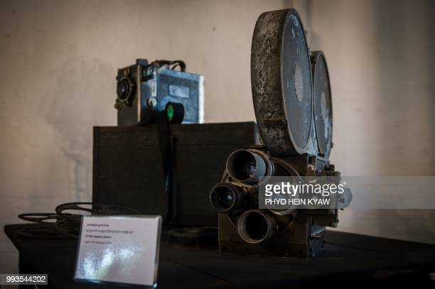 This picture taken on April 12 2018 shows a vintage 1953 movie camera displayed at the Myanmar film heritage exhibition at the historic Secretariat...