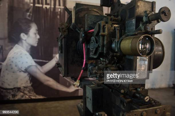 This picture taken on April 12 2018 shows a vintage movie camera displayed at the Myanmar film heritage exhibition at the historic Secretariat...