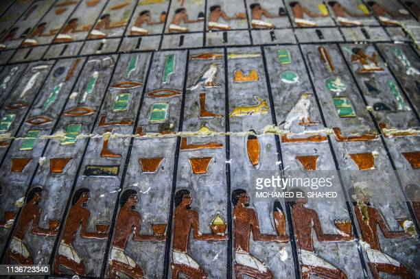 This picture taken on April 13 2019 shows a view inside the newlydicovered tomb of the ancient Egyptian nobleman Khewi dating back to the 5th dynasty...