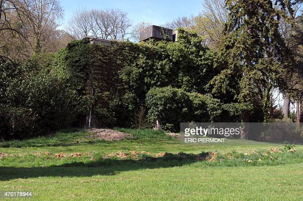 This picture taken on April 15 2015 shows the remains of a German WWII bunker in Le Domaine du Montcel in JouyenJosas near Versailles southwest of...