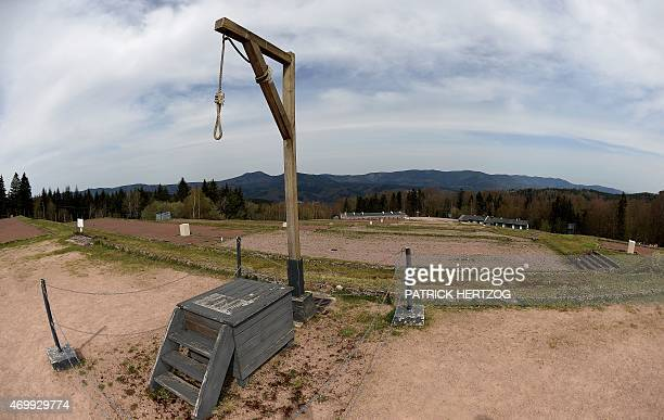 This picture taken on April 16, 2015 shows a gallows at the only Nazi death camp on French soil, the WWII Struthof concentration camp, in Natzwiller,...