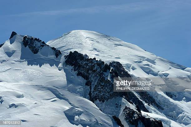 This picture taken on April 17 2013 shows the Mont Blanc the highest peak of the French Alps near Chamonix AFP PHOTO / PHILIPPE DESMAZES