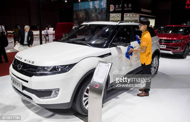 This picture taken on April 19 2017 shows a X7 car by Chinese carmaker Land Wind pictured during the media day of the 17th Shanghai International...