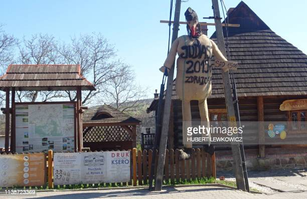 This picture taken on April 19 2019 shows an effigy of Judas on Good Friday hanging in the town of Pruchnik southern Poland The World Jewish Congress...