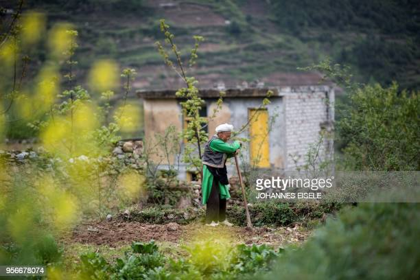 This picture taken on April 22 2018 shows an elderly woman resting on her shovel while she gardens near her home in the old village of Luobozhai...