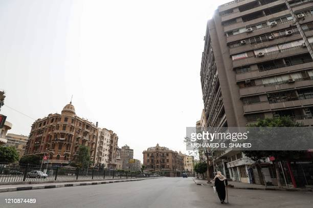 This picture taken on April 24, 2020 shows a view of Bab el-Louk square, one of the generally busy areas near the Egyptian capital Cairo's Tahrir...
