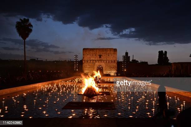 This picture taken on April 29 shows a partial view of Badi palace in the Moroccan city of Marrakesh where Models presented creations by Christian...