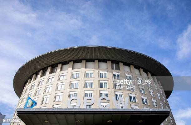 This picture taken on April 4 2018 in The Hague shows the headquarters of Organisation for the Prohibition of Chemical Weapons he board has a meeting...