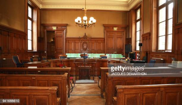 This picture taken on April 4 2018 shows Pierre Masse hearing room of the 5th chamber of the the Court of Appeals ahead of the appeal trial of former...