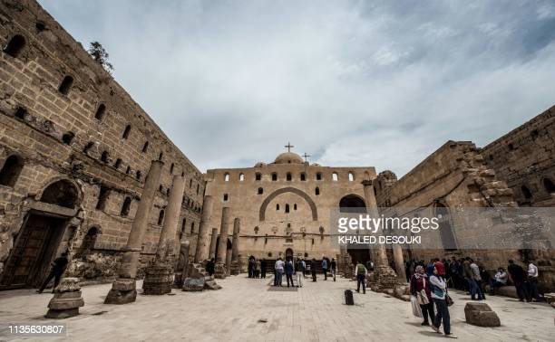 """This picture taken on April 6, 2019 shows a view of a courtyard in the Coptic Orthodox """"White Monastery"""" of St Shenouda the Archimandrite in Egypt's..."""