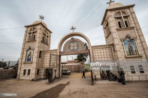 """This picture taken on April 6, 2019 shows a view of the gatehouse of the Coptic Orthodox """"White Monastery"""" of St Shenouda the Archimandrite in..."""