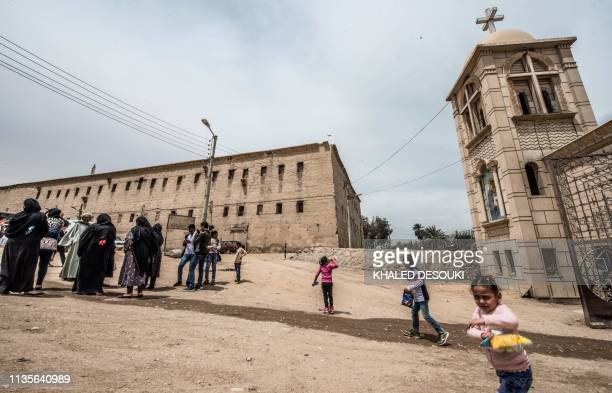 """This picture taken on April 6, 2019 shows a view outside the Coptic Orthodox """"White Monastery"""" of St Shenouda the Archimandrite in Egypt's southern..."""