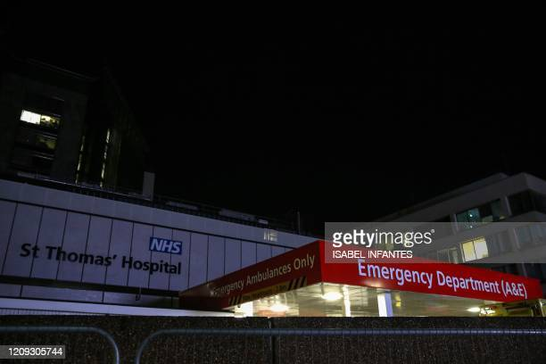 This picture taken on April 6 shows a view of the Emergency Department outside St Thomas' Hospital in London British Prime Minister who was diagnosed...
