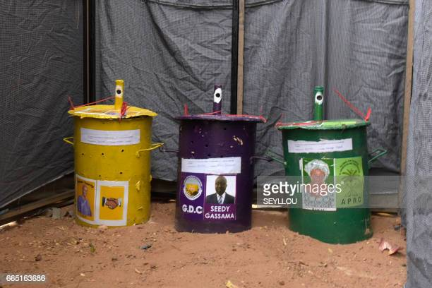 this picture taken on April 6 shows ballot boxes at a polling station in Bakau Gambians head to the polls on April 6 for the first time since the...