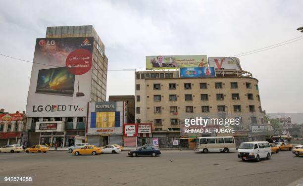 This picture taken on April 6 shows Tahrir square in Baghdad Fifteen years ago on April 9 the USled coalition overthrew Saddam Hussein