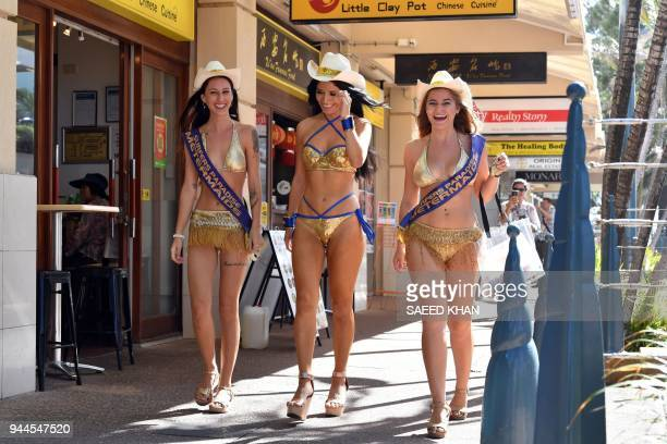 This picture taken on April 7 2018 shows meter maids patroling at Surfers Paradise on Gold Coast The Gold Coast's iconic meter maids famous for their...
