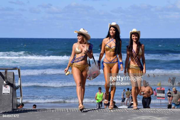 This picture taken on April 7 2018 shows meter maids patroling Surfers Paradise on Gold Coast The Gold Coast's iconic meter maids famous for their...