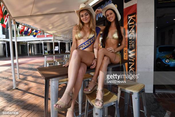 This picture taken on April 7 2018 shows meter maids posing at Surfers Paradise on Gold Coast The Gold Coast's iconic meter maids famous for their...