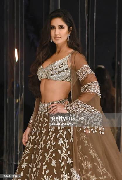 This picture taken on August 1 2018 shows Bollywood actress Katrina Kaif presentings a creation by designer Manish Malhotra during a fashion show in...