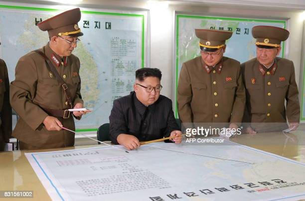 TOPSHOT This picture taken on August 14 2017 and released from North Korea's official Korean Central News Agency on August 15 2017 shows North Korean...