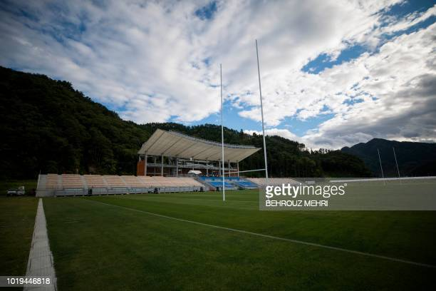 This picture taken on August 17 2018 shows one of the Rugby World Cup 2019 venues the newly built Kamaishi Recovery Memorial stadium also known as...