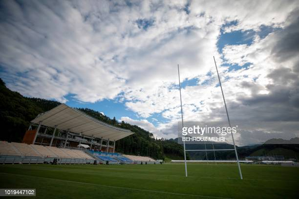 This picture taken on August 17 2018 shows one of the Rugby World Cup 2019 venues newly built Kamaishi Recovery Memorial stadium also known as the...