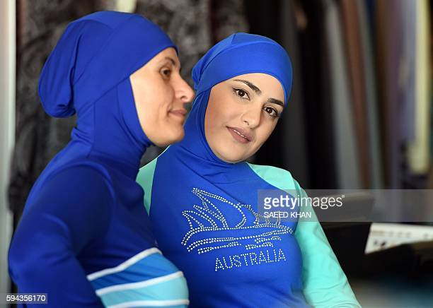 This picture taken on August 19 2016 shows Muslim models displaying burkini swimsuits in western Sydney AustralianLebanese Aheda Zanetti who claims...