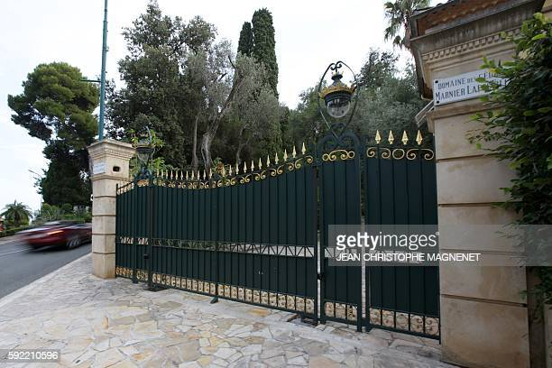This picture taken on August 19 2016 shows the entrance of the villa Les Cèdres former house of SM Leopold II in SaintJean Cap Ferrat southeastern...