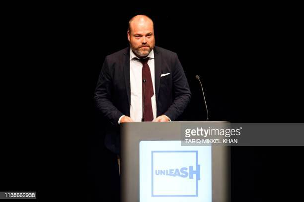 This picture taken on August 21 2017 shows Bestseller CEO Anders Holch Povlsen during an event in Aarhus Denmark The Bestseller company confirmed on...