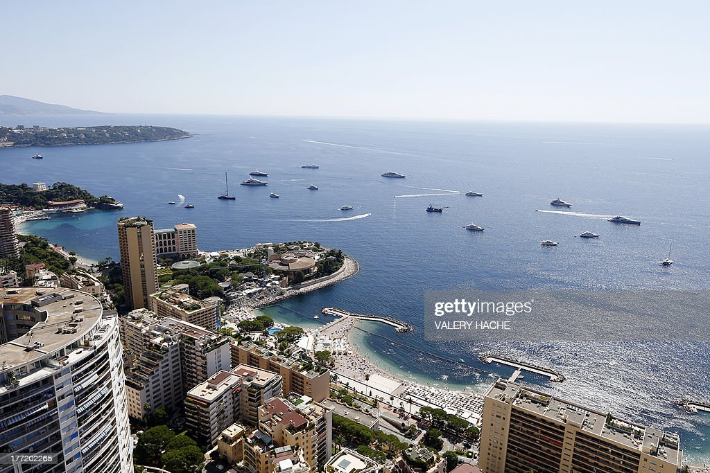 This picture taken on August 22, 2013, from the last floor of the Odeon tower shows a general view of Monaco. The recently built 49 -storey high Odeon tower is the highest building of the principality.