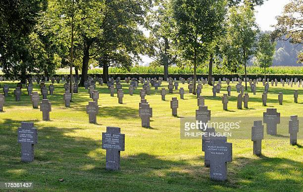 This picture taken on August 22013 shows tombs at the German military cemetery of Wicres northern France containing 2842 victims of World War I AFP...