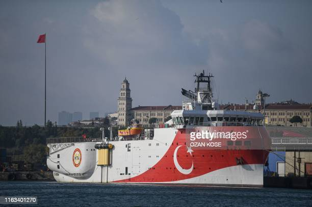 This picture taken on August 23, 2019 in Istanbul shows a view of Turkish General Directorate of Mineral research and Exploration's Oruc Reis seismic...