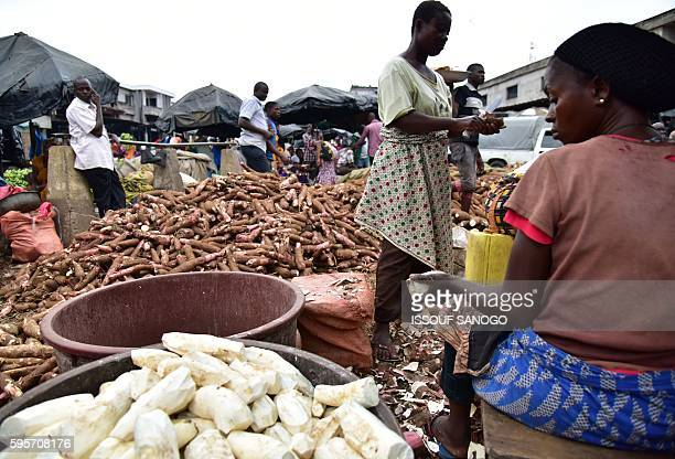 This picture taken on August 25 2016 shows women peeling and cutting pieces of cassava at the market in the Adjame district of Abidjan / AFP / ISSOUF...