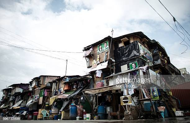 This picture taken on August 26 2016 shows a general shot of a slum area in Manila More than 2000 people have died violent deaths since Duterte took...