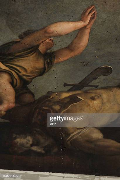 This picture taken on August 30 2010 shows water dripping from 'David and Goliath' a painting by renaissance master Titian in the Santa Maria della...