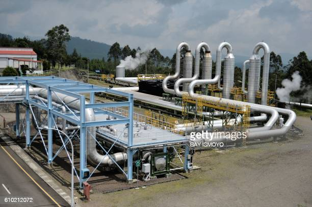 This picture taken on August 31 2016 shows pipes running across the grounds of the Wayang Windu geothermal power station on West Java in Indonesia...