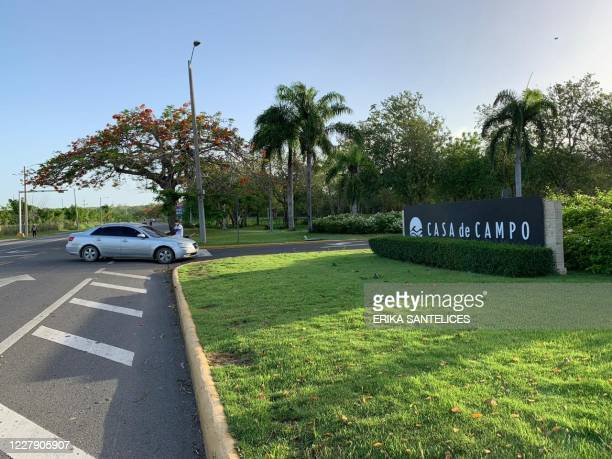 This picture taken on August 4, 2020 shows the entrance to the resort Casa de Campo in La Romana, Dominican Republic, where Spain's former king Juan...