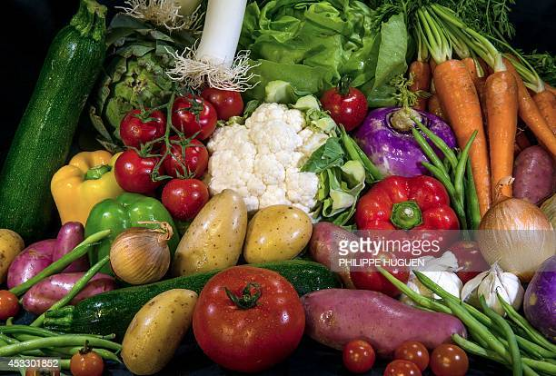 This picture taken on August 7 2014 shows vegetables in Lille northern France Russia is introducing a 'full embargo' on most food imports from the EU...