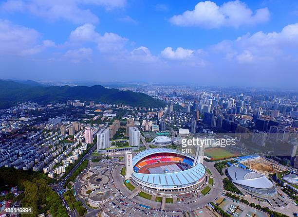 This picture taken on August 7, 2015 shows the Yellow Dragon Sports Center Stadium in Hangzhou, in eastern China. The Chinese city of Hangzhou was on...