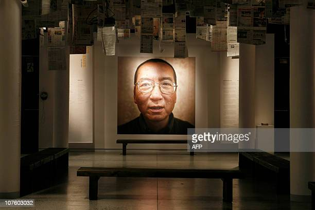This picture taken on December 10 2010 shows an exhibition at the Nobel Peace Center in Oslo highlighting this year's Nobel Peace Prize laureate Liu...