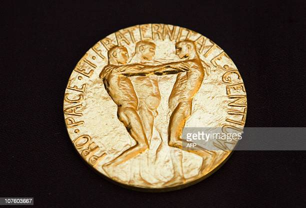 This picture taken on December 10 2010 shows the rear of the Nobel medal awarded to the Nobel Peace Prize laureate for 2010 jailed Chinese dissident...