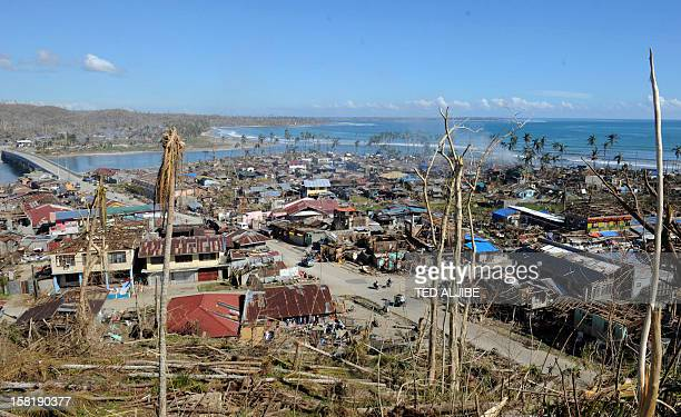This picture taken on December 10 2012 shows a general view of devastation of the town of Bagangga town in the aftermath of Typhoon Bopha The United...