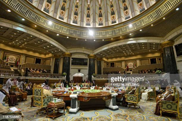 This picture taken on December 10, 2019 shows a general view of a session of the Gulf Cooperation Council summit held in the Saudi capital Riyadh.