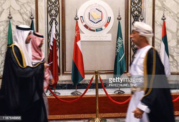 This picture taken on December 10, 2019 shows delegates walking during the Gulf Cooperation Council summit held in the Saudi capital Riyadh.