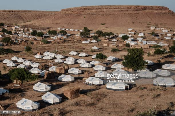 This picture taken on December 11 shows a general view of Um Raquba refugee camp which hosts Ethiopian refugee who fled Ethiopia's Tigray conflict in...