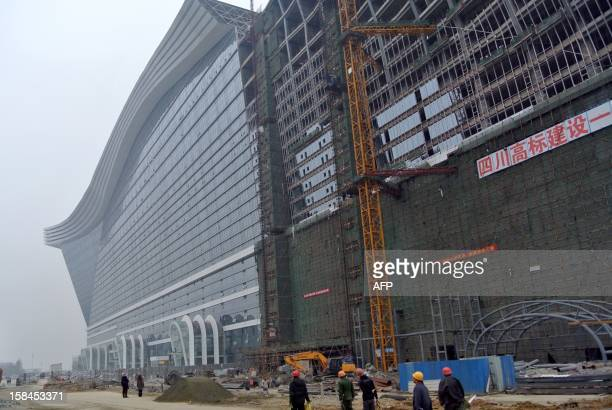 This picture taken on December 12 2012 shows the world's biggest standalone building which is now still under construction in Chengdu southwest...