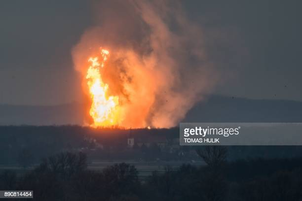 TOPSHOT This picture taken on December 12 2017 shows Austria's main gas pipeline hub at Baumgarten Eastern Vienna where an explosion rocked the site...