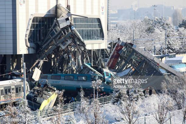 This picture taken on December 13 2018 shows the train's wreckage after a highspeed train crashed into a locomotive in Ankara Nine people were killed...
