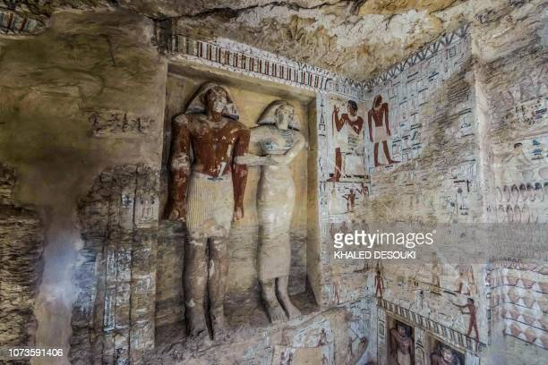 This picture taken on December 15 2018 shows a view of a newlydiscovered tomb belonging to the high priest Wahtye who served during the fifth dynasty...